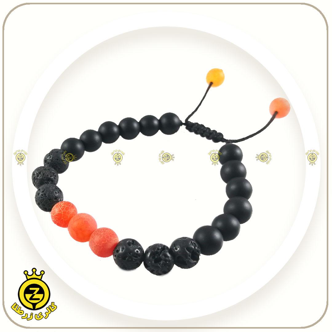 دستبند سنگی عقیق سلیمانی نارنجی