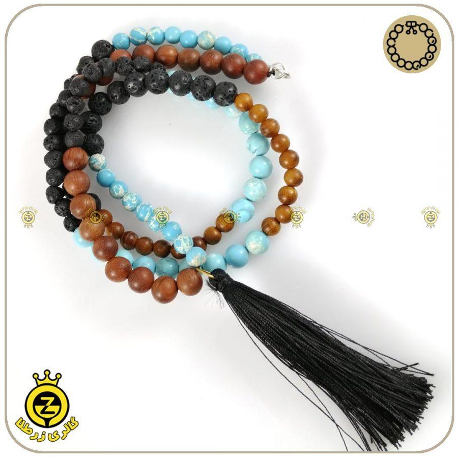 گردنبند یوگا با چوب+ لاوا و فیروزه آفریقایی