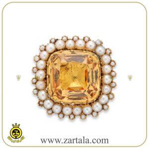 انگشتری ساخته شده از سنگ توپاز زرد و مروارید