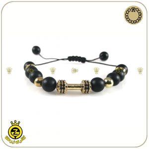 دستبند سنگی دمبل طلایی