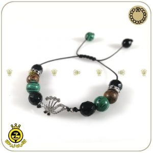 دستبند سنگی و پروانه نقره