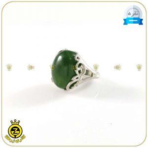 انگشتر نقره زنانه با نگین عقیق سبز