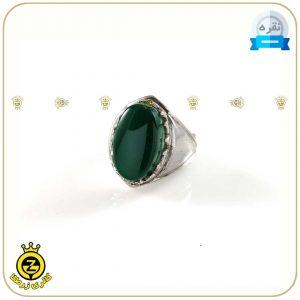 انگشتر نقره مردانه با نگین عقیق سبز