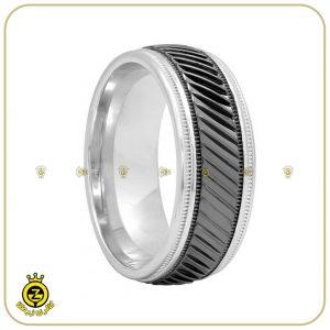 حلقه ی مردانه ی نقره ای و-مشکی