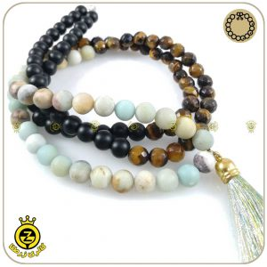 گردنبند یوگا مردانه با سنگ پشم ببر