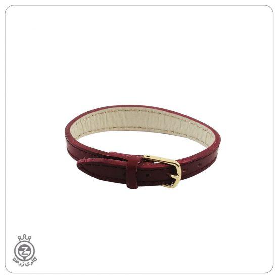 دستبند چرم با قفل کمربندی قرمز