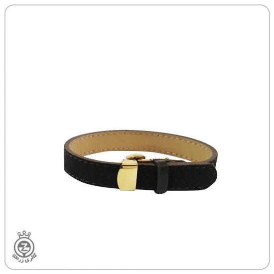 دستبند چرم ساده قفل رولکسی قهوه ای
