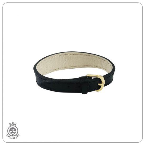 دستبند چرم با قفل کمربندی مشکی