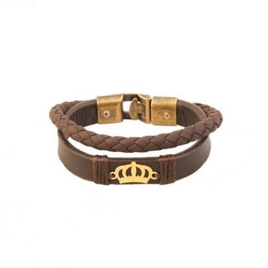 دستبند چرم و طلای زنانه