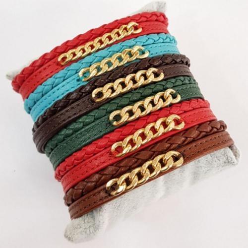 قیمت دستبند چرم و طلای زنانه