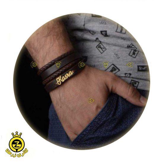 دستبند سنگ و طلای اسم مردانه