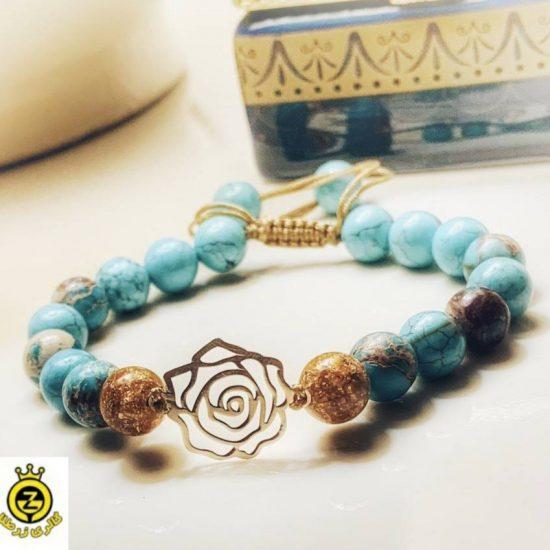 دستبند با سنگ فیروزه اصل